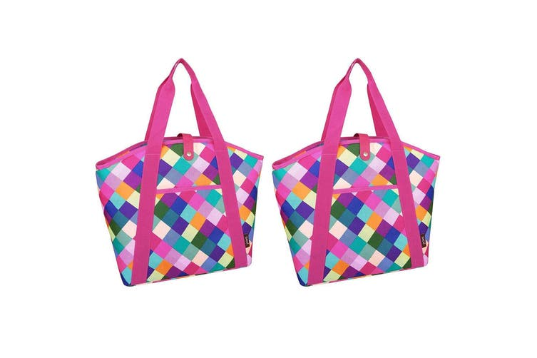 2PK Sachi 48cm Insulated Thermal Cooler Shopping Bag Carry Picnic Case Pink