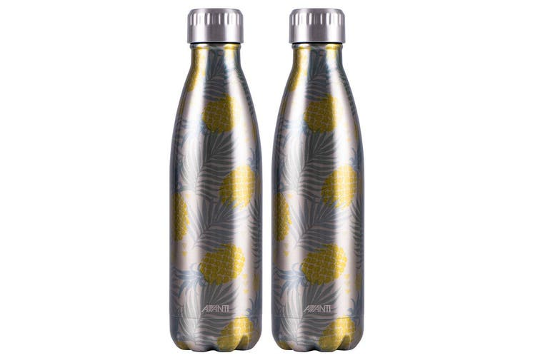 2x Avanti 500ml Water Vacuum Thermo Bottle 2 Wall Stainless Steel Cold Drink PN
