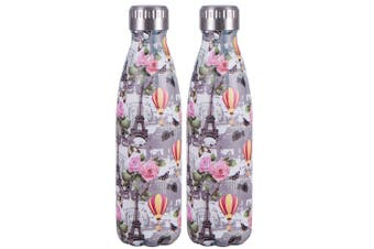 2PK Avanti 500ml Water Vacuum Thermo Bottle Stainless Steel Cold Hot Drink Paris