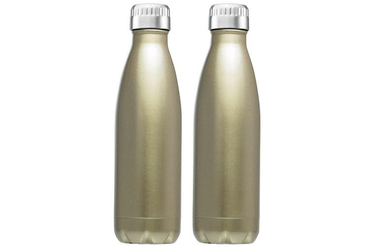 2PK Avanti 1L Water Vacuum Thermo Drink Bottle Dual Wall Stainless Steel Gold