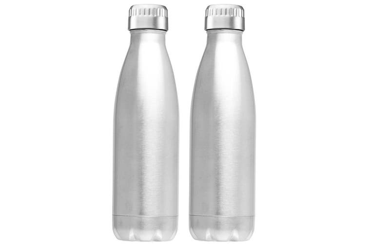 2PK Avanti 1L Water Vacuum Thermo Drink Bottle Dual Wall Stainless Steel Silver
