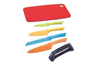 6pc Scanpan Stainless Steel Kitchen Chef Knife Set w  Sharpener Chopping Board