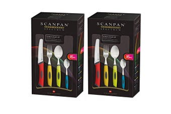 32pc Scanpan Spectrum Cutlery Set Fork Knife Spoon Teaspoon Coloured Dinnerware