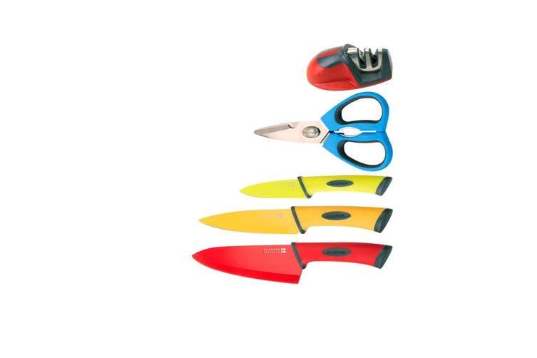 Scanpan Spectrum 6pc Kitchen Knife Set w  Chopping Board Shears Sharpener Colour