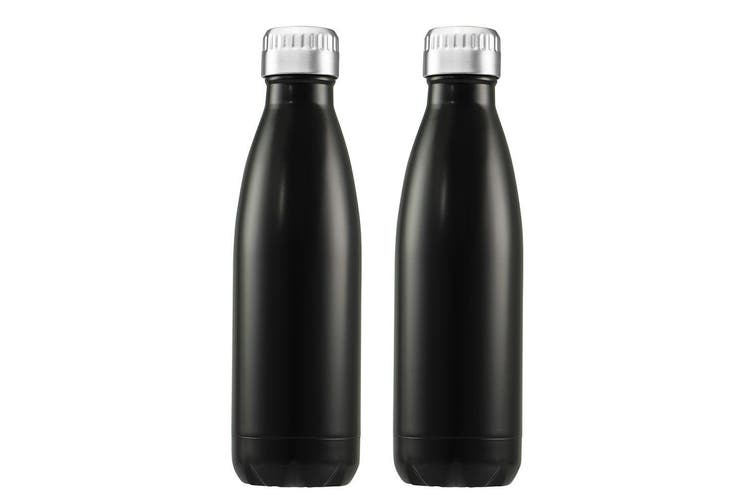 2PK Avanti 750ml Water Vacuum Thermo Bottle Stainless Steel Cold Hot Drink Black
