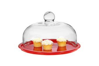 Chasseur La Cuisson Red 26cm Cake Platter Glass Cover Lid Serving Stand Display