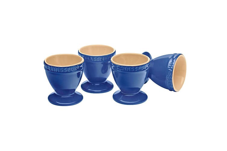 Chasseur La Cuisson 4pc Boiled Egg Cup Holder Stand Set Blue Oven Safe Tableware