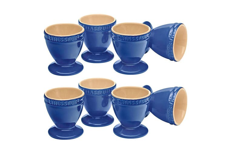 Chasseur La Cuisson 8pc Boiled Egg Cup Holder Stand Set Blue Oven Safe Tableware