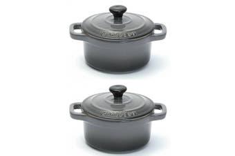 2PK Chasseur La Cuisson 10cm Cocotte Casserole Cookware Stock Pot Oven Lid Grey