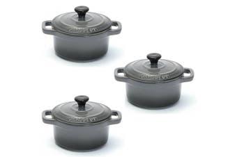 3PK Chasseur La Cuisson 10cm Cocotte Casserole Cookware Stock Pot Oven Lid Grey
