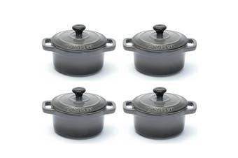 4PK Chasseur La Cuisson 10cm Cocotte Casserole Cookware Stock Pot Oven Lid Grey