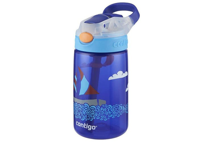 Contigo Gizmo Flip Autospout 420ml Kids Water Bottle Spill Leak Proof Yacht Blue