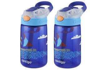 2PK Contigo Gizmo Flip Autospout 420ml Kids Water Bottle Spill Leak Proof Yacht