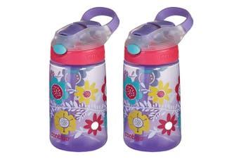 2PK Contigo Gizmo Flip Autospout 420ml Kids Water Straw Bottle Spill Leak Proof