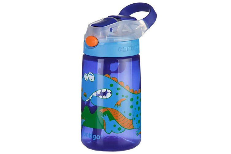2x Contigo Gizmo Flip Autospout 420ml Kids Water Bottle Leak Proof Dinosaur Blue