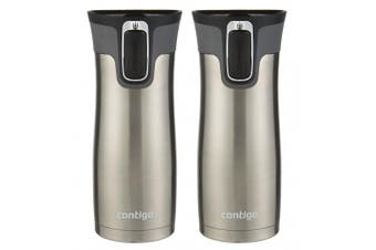 2x Contigo West Loop Autoseal Mug 473ml Stainless Steel Drinking Water Container
