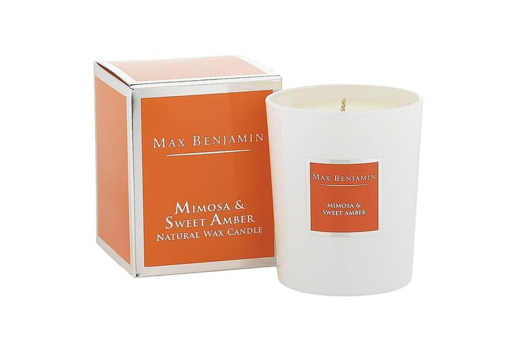 Max Benjamin 190g Natural Wax Scented Fragrance Candle Jar Mimosa & Sweet Amber