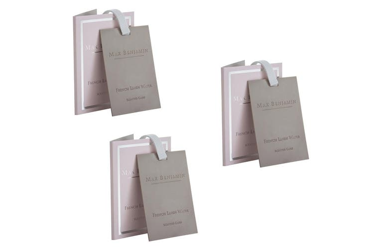 3x Max Benjamin Scented Fragracne Card f  Bag Wardrobe Drawer French Linen Water
