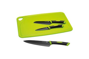4pc Scanpan Spectrum Knives Cutting Board Set with Steel Knives Black Green
