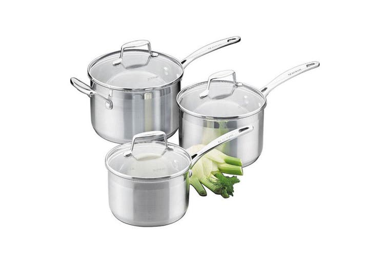 Scanpan Impact 3PC Saucepan Set Stainless Steel Induction Kitchen Cookware