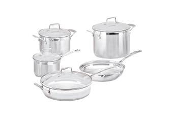 5pc Scanpan Stainless Steel Cookware Set Sauce Frying Pan Stock Pot w Lid Silver