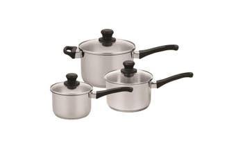 Scanpan Classic Inox 3Pc Stainless Steel Saucepan Set Induction Gas Cookware