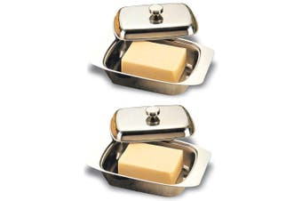 2x Integra Elite Stainless Steel Butter Spread Tray Holder Container Dish w  Lid