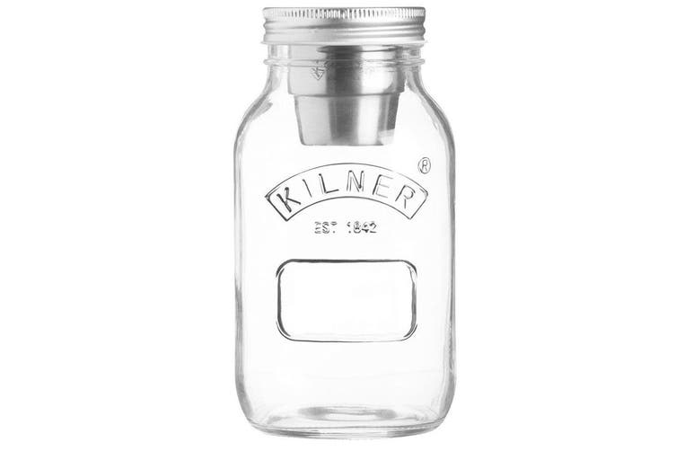Kilner 1L Food On The Go Salad Glass Jar w  Stainless Steel Dressing Container