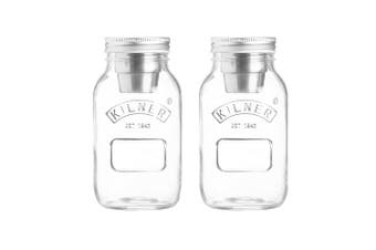 2PK Kilner 1L Food On The Go Salad Glass Jar Stainless Steel Dressing Container