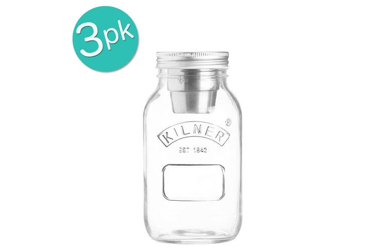 3PK Kilner 1L Food On The Go Salad Glass Jar Stainless Steel Dressing Container