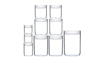 10pc ClickClack Pantry Plastic Round Container Set with 600ml 1 1.6 2.3 3.2 4L