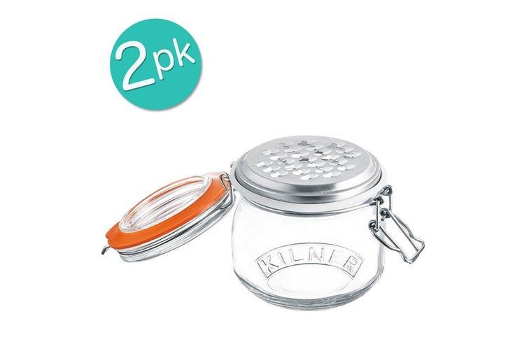 2PK Kilner 500ml Glass Jar Cheese Grater Container Storage w  Lid Food Kitchen