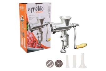 Appetito No. 8 Manual Cast Iron Food Meat Mincer Grinder Sausage Maker Silver