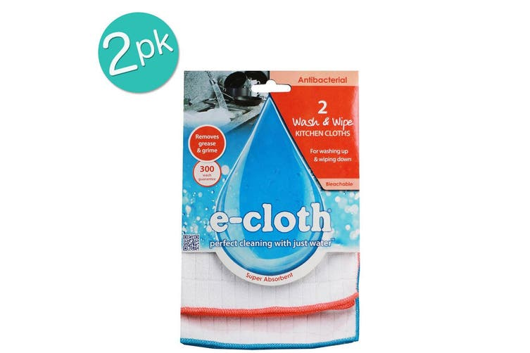 2PK E-Cloth 4pc Wash & Wipe Kitchen Cleaning Cloths Duster Towels Orange Blue