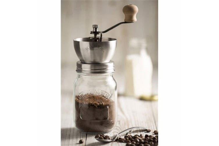 Kilner Coffee Grinder 500ml Glass Jar Storage w  Airtight Stainless Steel Lid