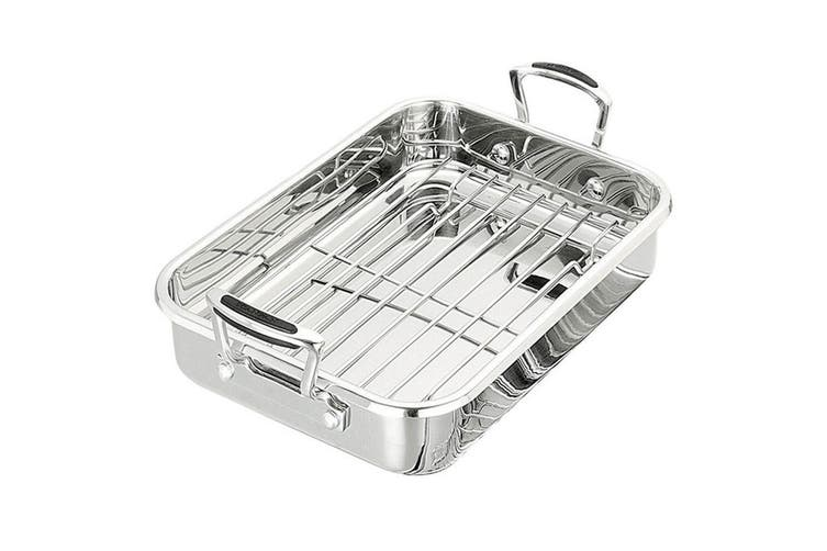 Scanpan Coppernox Roaster w  Rack Oven Roasting Pan Tray Stainless Steel 48x31cm