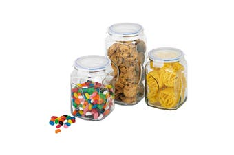 3pc Glasslock Glass Storage Canisters Jar Kitchen Pantry Food Storage Organiser