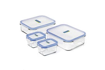 4pc Glasslock 150ml 1L 2L Tempered Glass Rectangular Airtight Food Container Set