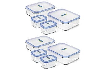 8pc Glasslock 150ml 1L 2L Tempered Glass Rectangular Airtight Food Container Set