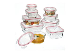 9pc Glasslock Oven Safe Tempered Glass Bakeware Food Storage Container Set