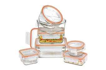 7pc Glasslock Rimless Oven Safe Food w  Lid Food Storage Container Set BPA Free