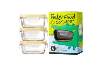 3pc Glasslock 150ml Rectangle Glass Baby Food Containers Snack Storage Yellow