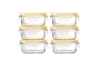 6pc Glasslock 150ml Rectangle Glass Baby Food Containers Snack Storage Yellow