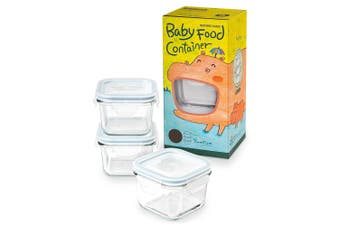 3pc Glasslock 210ml Baby Food Veggie Snacks Clear Glass Container Storage Square