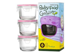 3pc Glasslock 165ml Round Glass Baby Food Containers Snack Storage w  Lid Pink