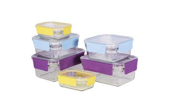 6pc Glasslock Premium Oven Safe Clear Glass Container Food Storage Set w  Lid