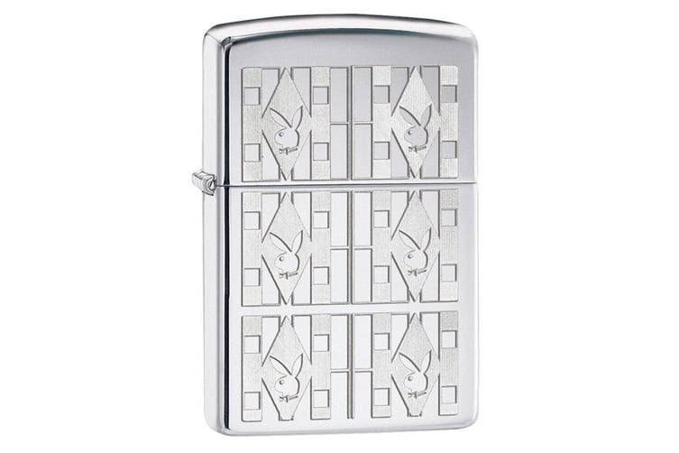 Zippo Playboy Triangles 28624 Genuine Chrome Finish Pocket Lighter Windproof