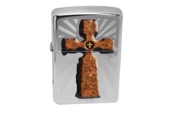 Zippo Cross 28801 Genuine High Polish Chrome Finish Pocket Lighter Windproof