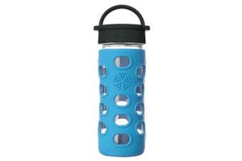Lifefactory 350ml Glass Bottle Classic Cap w  Silicone Non-Slip Grip Cobalt Blue