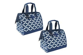 2x Sachi Thermal Insulated Picnic Lunch Meal Box Bag Carry Food Moroccan Navy